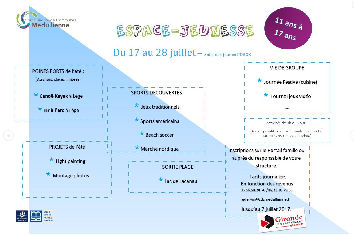 Programme EJ 17 au 28 juillet LE PORGE