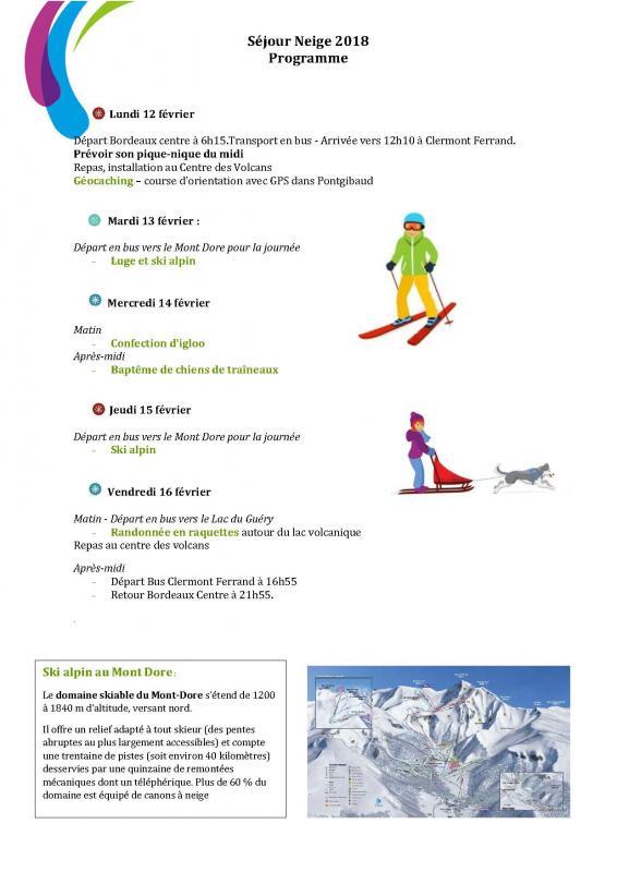 Programme sejour neige 2017