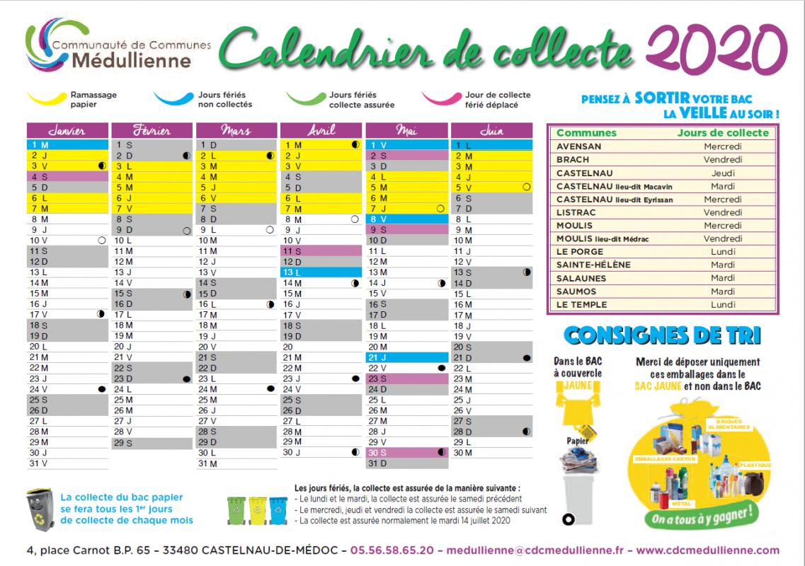 Recto calendrier de collecte 2020